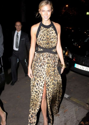 Karlie Kloss in Leopard Print Dress out in Paris