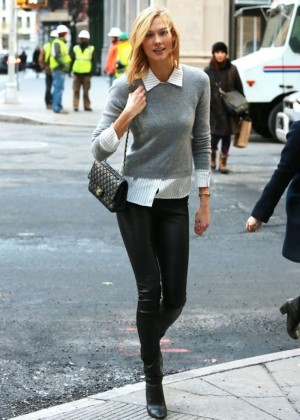 Karlie Kloss in Leather Pants Out in NYC