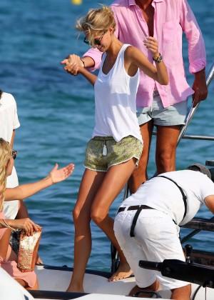 Karolina Kurkova in shorts leaving Club 55 in St. Tropez-06