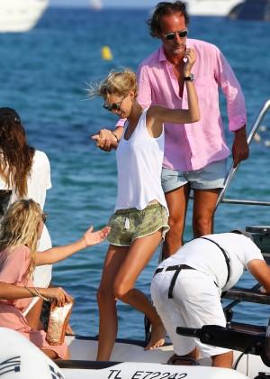 Karolina Kurkova in shorts leaving Club 55 in St. Tropez-15