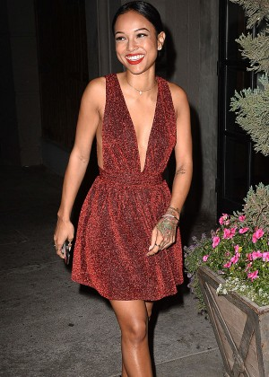 Karrueche Tran in Red Dress at Aventine in Hollywood