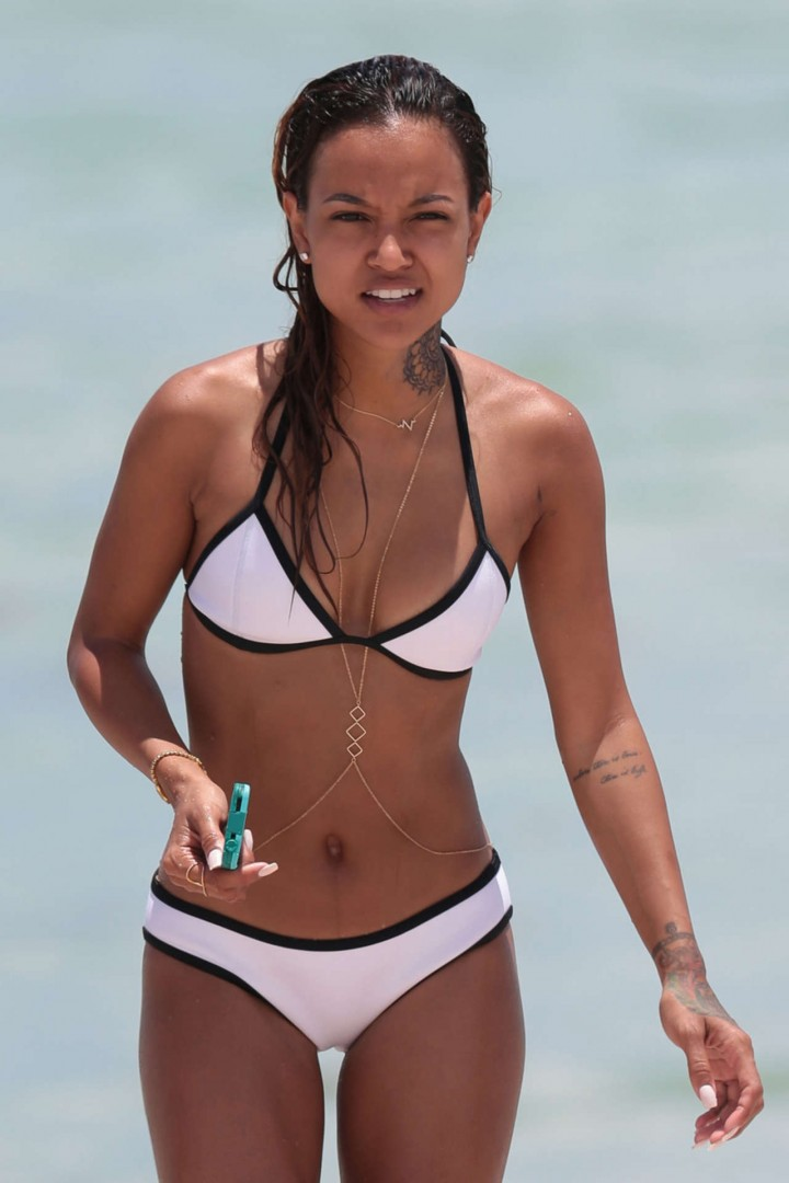 Karrueche Tran showing off her hot bikini body in Miami