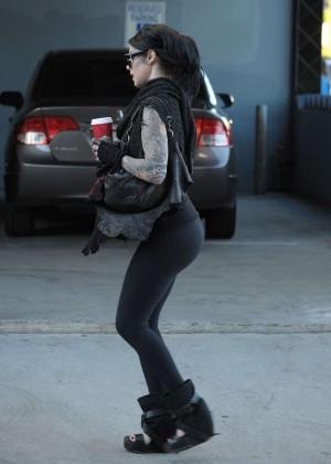 Kat Von D in Tights Shopping in LA