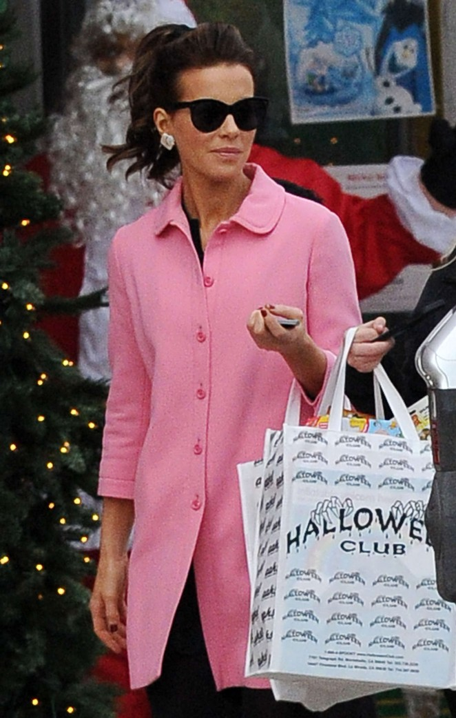 Kate Beckinsale in Pink Coat at Christmas Shopping in Santa Monica