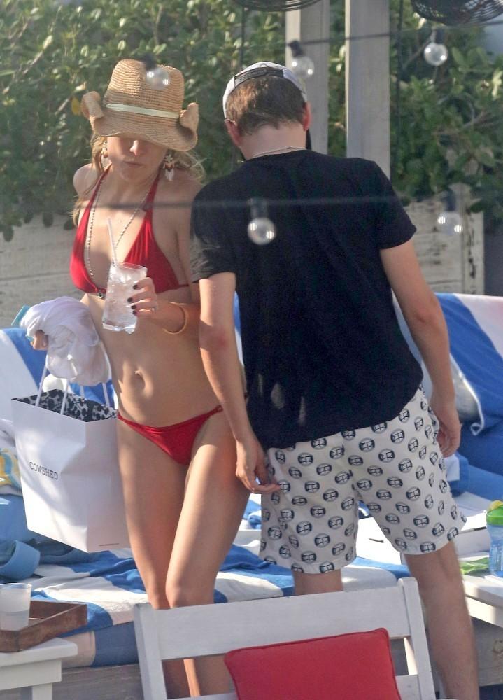 Hudson in red bikini