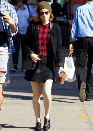 Kate Mara in Mini Skirt out and about in NYC