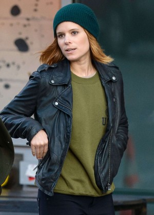 Kate Mara in Leather Jacket Out in NYC