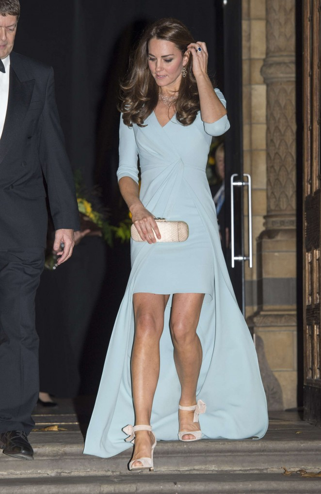 Kate Middleton in Blue Dress at Wildlife Photographer of the Year 2014 Awards in London