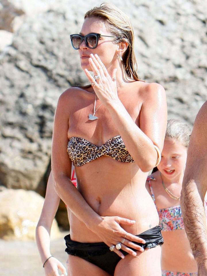 Kate Moss In Leopard Print Bikini in Ibiza