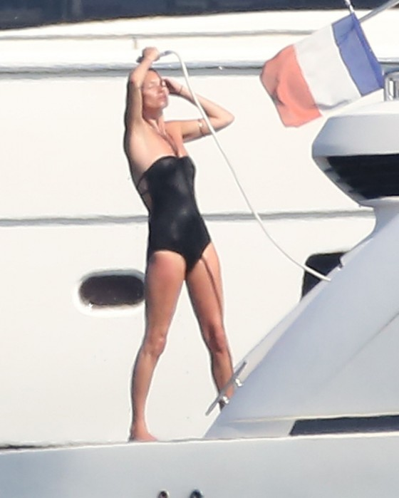 Kate Moss - Bikini Candids on a yacht in Saint Tropez