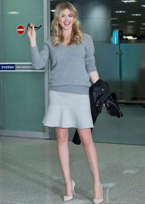 Kate Upton in Mini Skirt at Gimhae International Airport in Busan