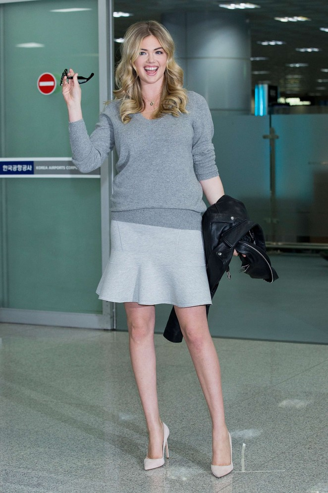 Kate Upton in Mini Skirt at Gimhae International Airport in Busan