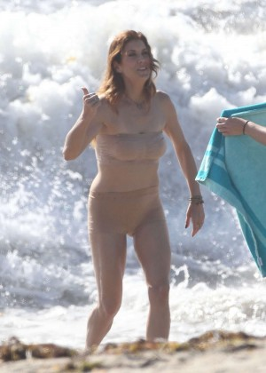 "Kate Walsh in Bikini at the beach on the set of ""Bad Judge"" in LA"