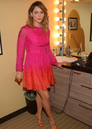 Katharine McPhee in Pink Dress at a Studio in NY