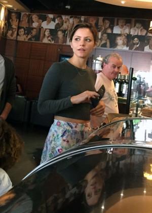 Katharine McPhee in Mini Skirt at Coffee shop in LA