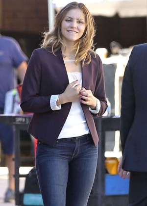 Katharine McPhee in jeans on the set of Scorpion in LA