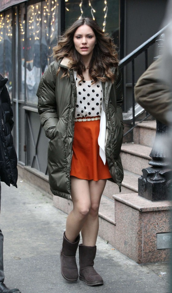 Katharine McPhee in short dress On the Set of Smash - 01/09/13