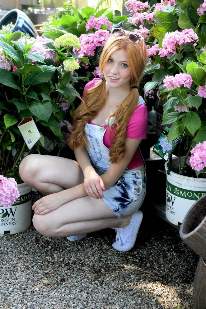Katherine McNamara in Jeans Shorts at Garden Center in LA