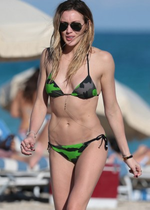 Katie Cassidy in Green Bikini on Miami Beach