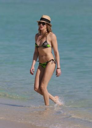 Katie Cassidy in Green Bikini on Miami Beach