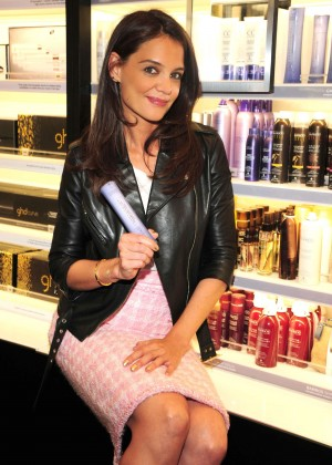 Katie Holmes in Leather Jacket and Pink Skirt at Sephora in NY