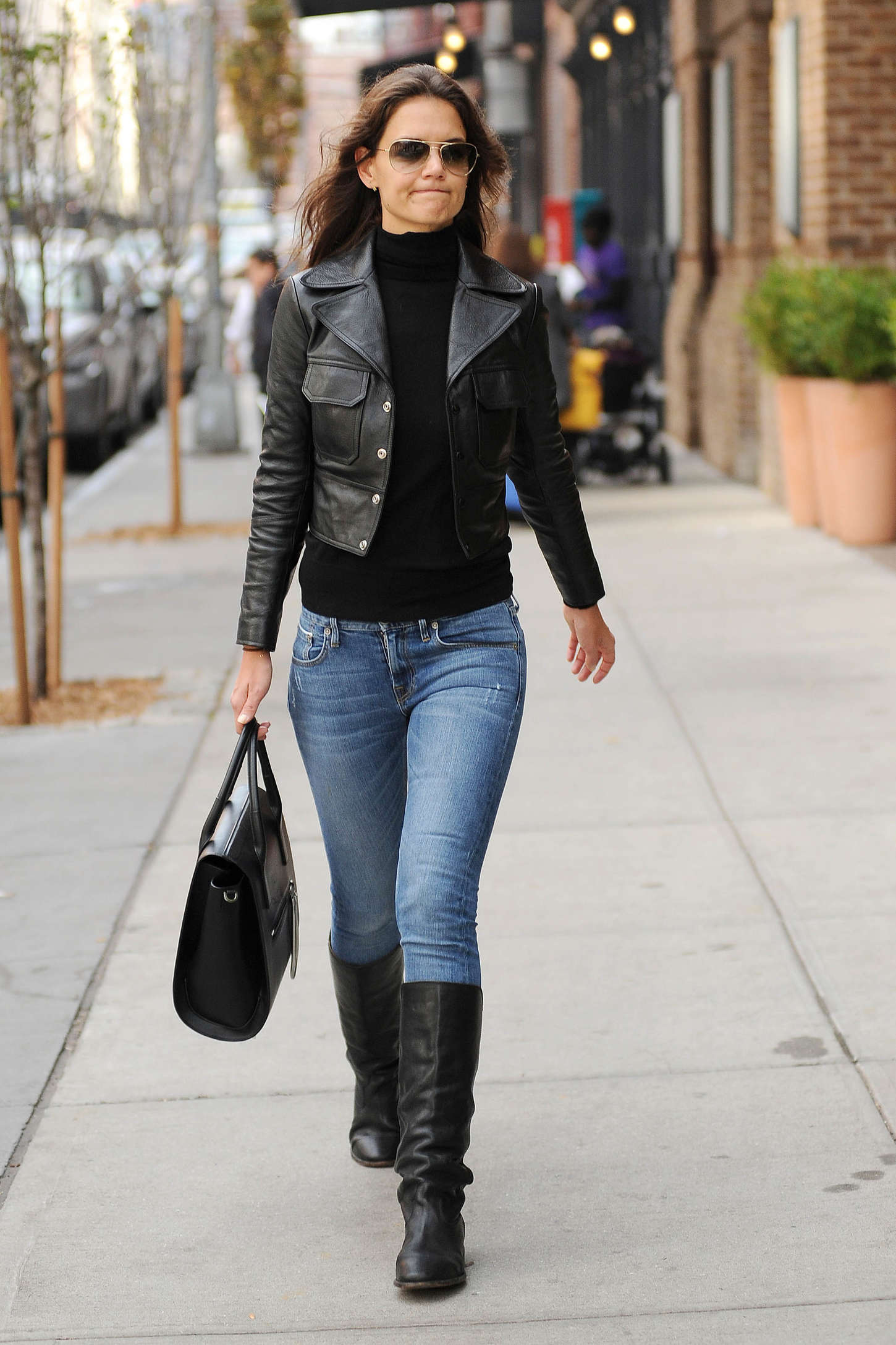 Katie Holmes in Jeans and Boots out in New York