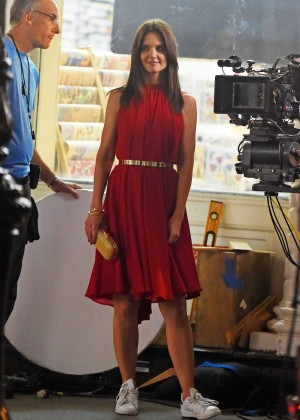 Katie Holmes in Red Dress Filming a commercial at SoHo in New York City