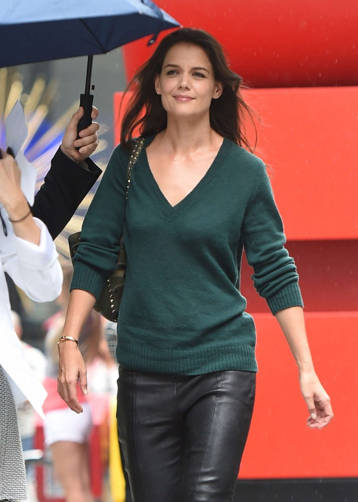 Katie Holmes in Leather Pants out in New York City