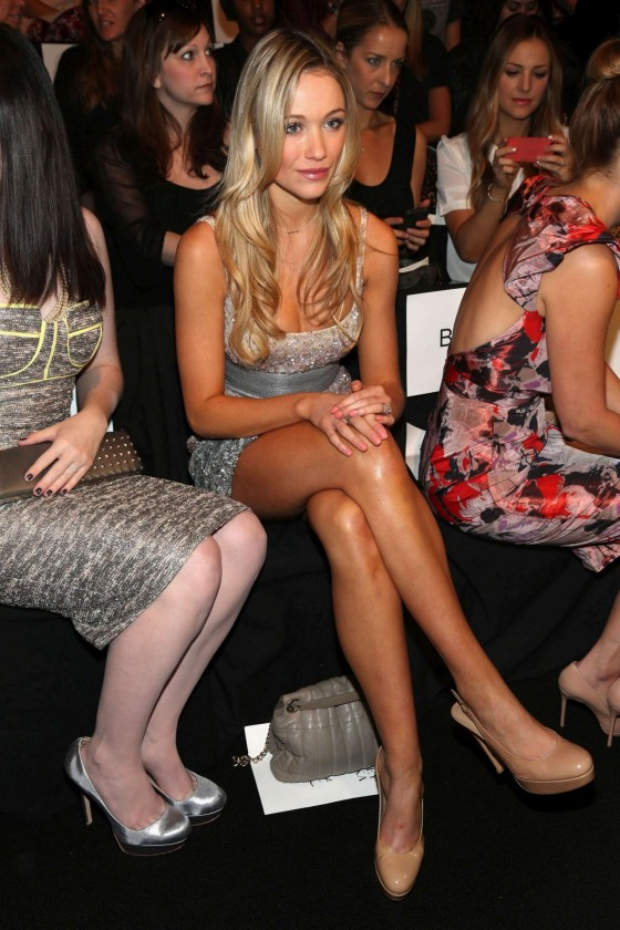 Katrina Bowden shows her legs at Badgley Mischka fashion show in New York