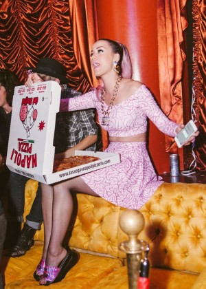 Katy Perry in Pinh Dress at Diplo Show In Las Vegas