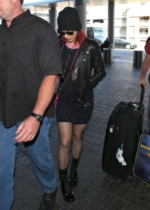 Katy Perry in Mini Skirt at LAX -01