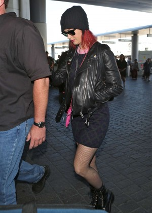 Katy Perry in Mini Skirt at LAX -03