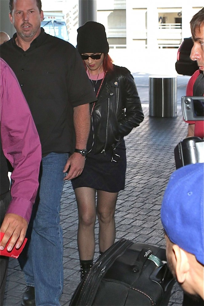 Katy Perry in Mini Skirt at LAX -07
