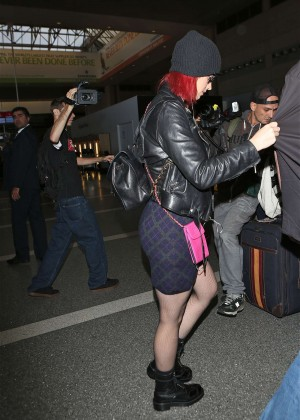 Katy Perry in Mini Skirt at LAX -10