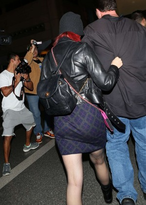 Katy Perry in Mini Skirt at LAX -12