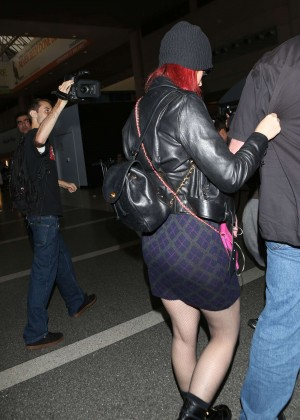 Katy Perry in Mini Skirt at LAX -14