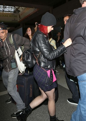 Katy Perry in Mini Skirt at LAX -17