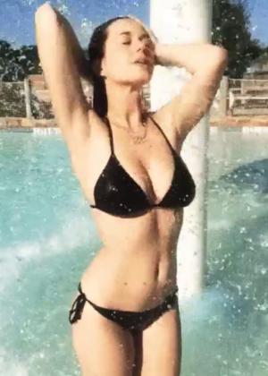 Katy Perry in Black Bikini at Water Park