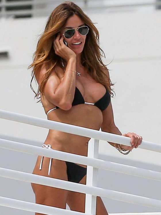 Kelly Bensimon Wearing Black Bikini in Miami -05