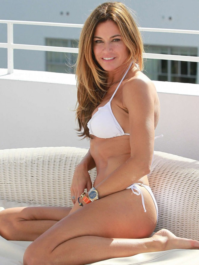 Kelly Bensimon in a White Bikini at the Pool in Miami