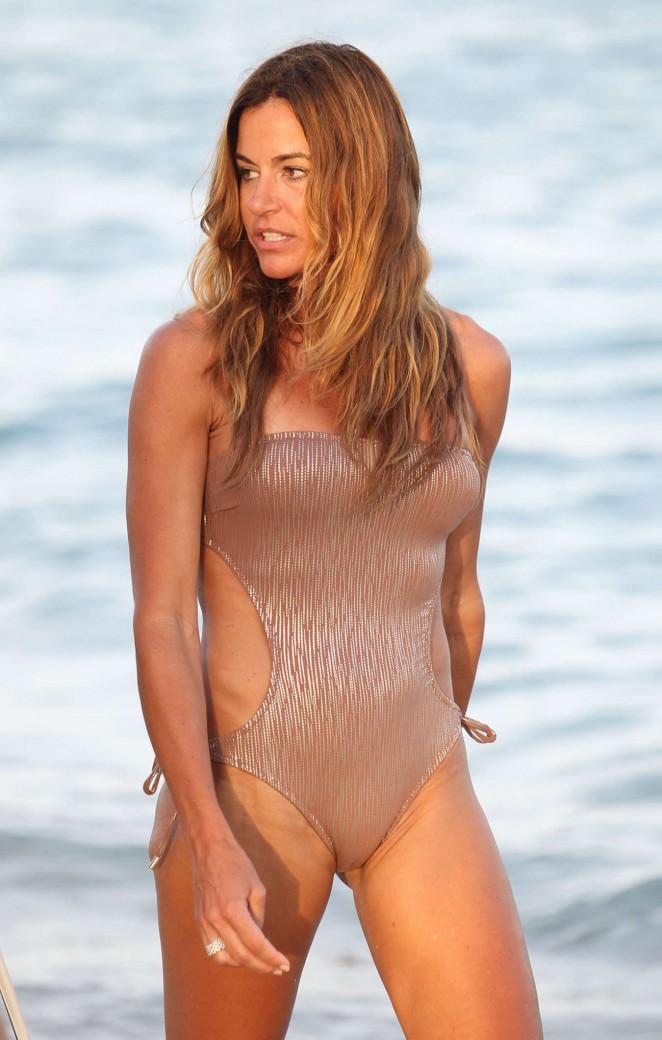 Kelly Bensimon in Swimsuit on Miami Beach