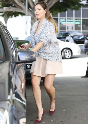 Kelly Brook in Mini Skirt at a gas station in West Hollywood