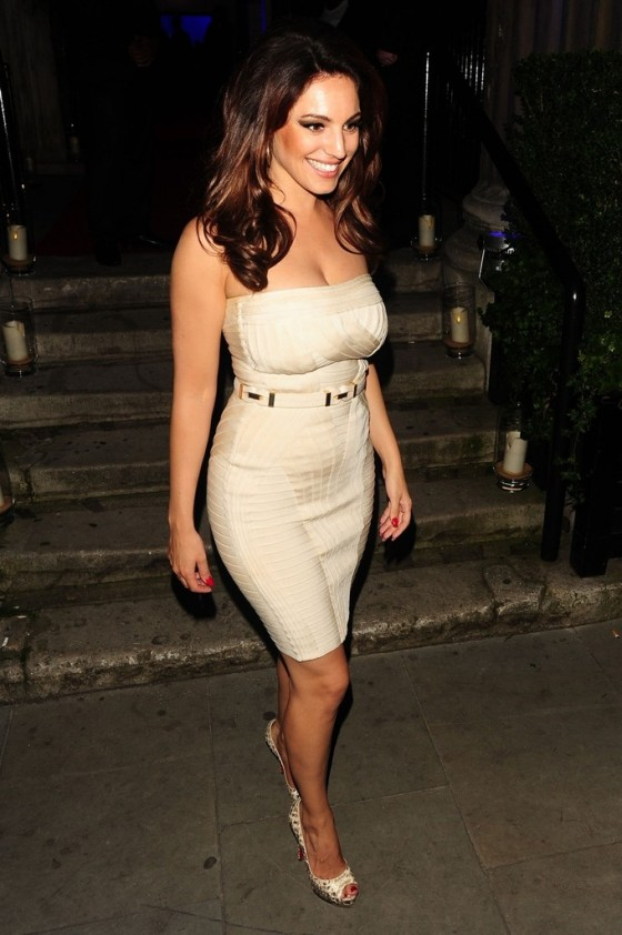 Kelly Brook shows her cleavage in tight dress at Samsung Galaxy Note 10 1 party at One Mayfair in London