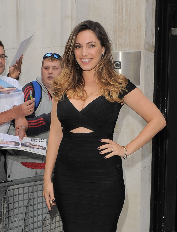 Kelly Brook in Black Tight Dress at BBC Radio 2 Studios in London