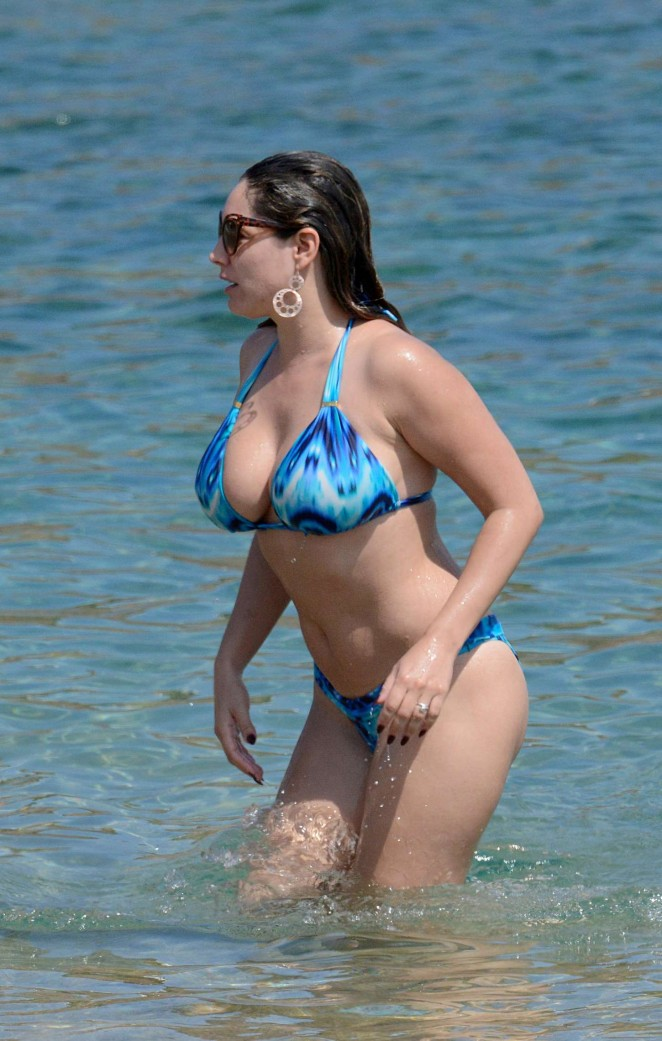 Kelly Brook in Blue Bikini on a Beach in Greece