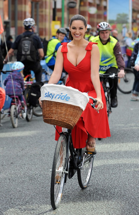 Kelly Brook riding a bike at a Sky Ride event in Manchester