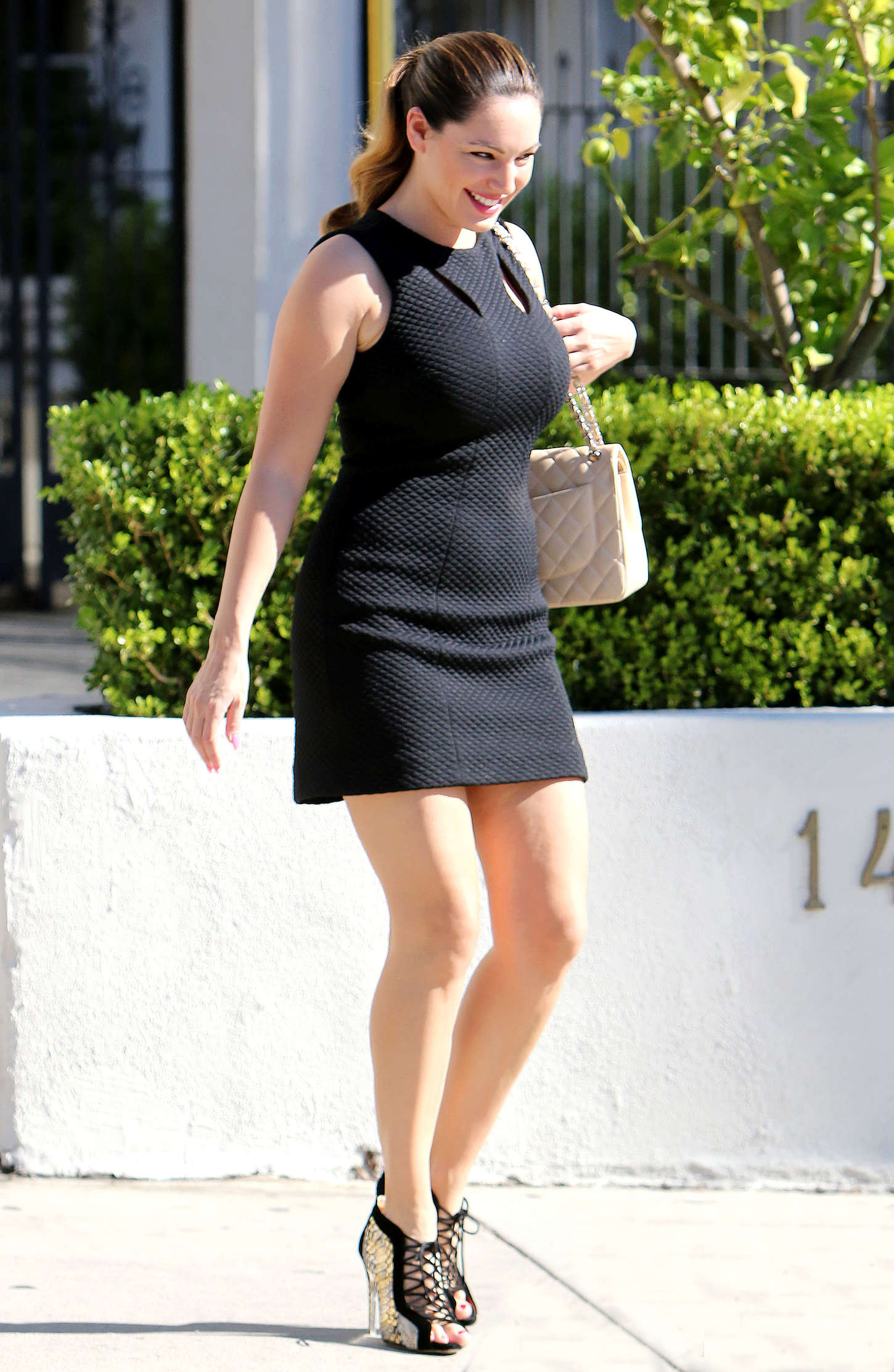 Kelly Brook in Tight Black Dress out Shopping in LA
