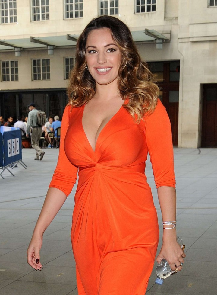 Kelly Brook in Red Dress - Visiting Radio One in London