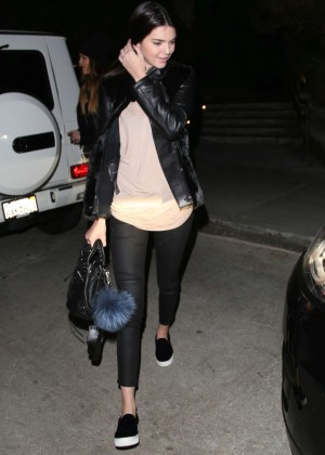 Kendall Jenner in Tight Pants at Kate Mantilini Restaurant in LA