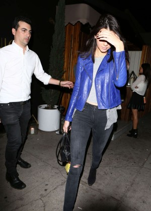 Kendall Jenner in Blue Jacket and Jeans Leave The Nice Guy Restaurant